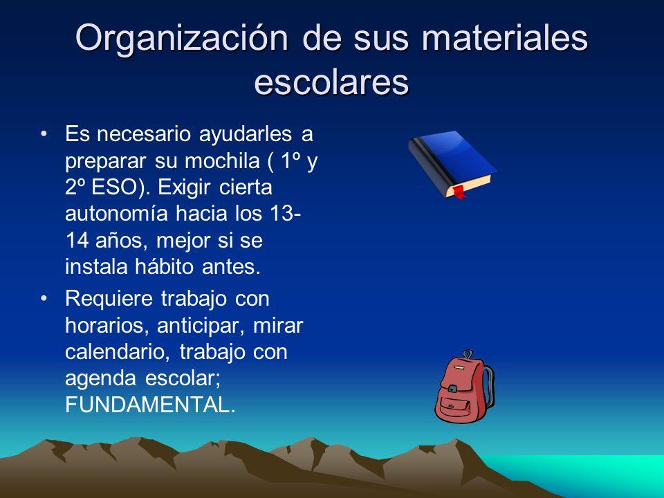 Organización de sus materiales escolares Es necesario ayudarles a preparar su mochila ( 1º y 2º ESO).