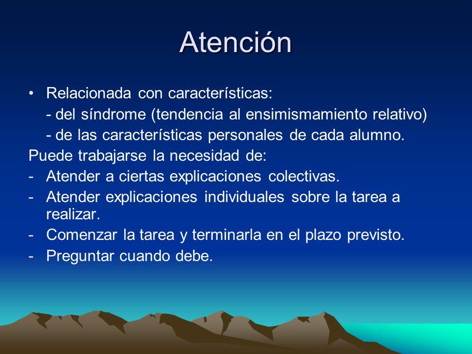 Atención Relacionada con características: - del síndrome (tendencia al ensimismamiento relativo) - de las características personales de cada alumno.