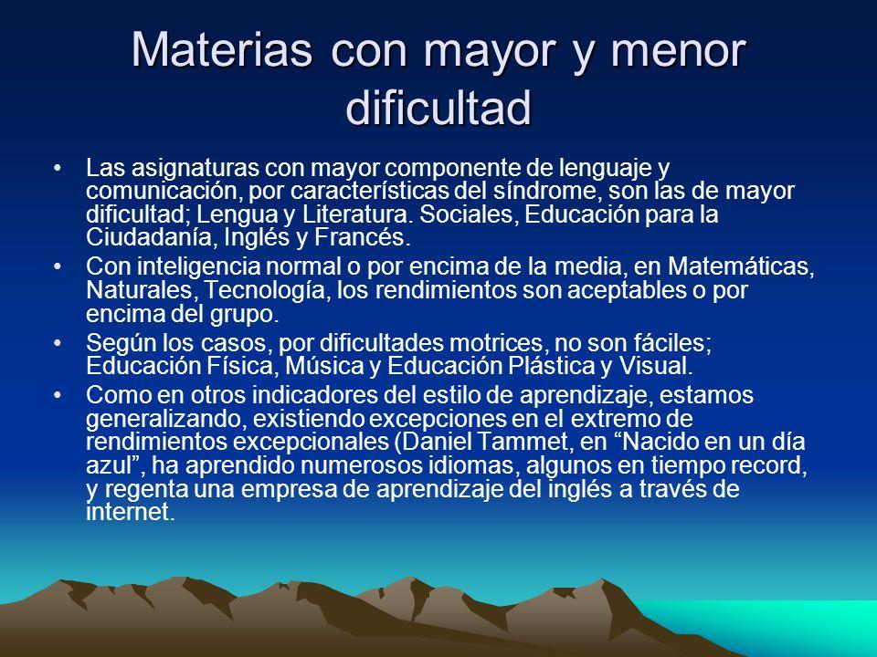 Materias con mayor y menor dificultad Las asignaturas con mayor componente de lenguaje y comunicación, por características del síndrome, son las de mayor dificultad; Lengua y Literatura.