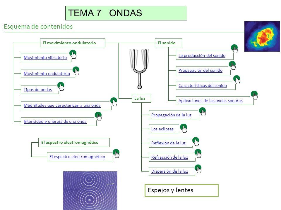 Esquema de contenidos El movimiento ondulatorio Movimiento vibratorio Movimiento ondulatorio Tipos de ondas Magnitudes que caracterizan a una onda Intensidad y energía de una onda El sonido La producción del sonido Propagación del sonido Características del sonido Aplicaciones de las ondas sonoras La luz Propagación de la luz Los eclipses Reflexión de la luz Refracción de la luz Dispersión de la luz El espectro electromagnético Espejos y lentes TEMA 7 ONDAS