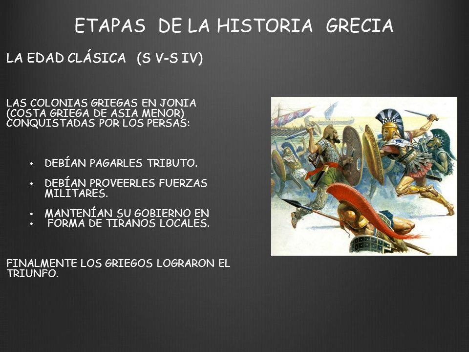 ETAPAS DE LA HISTORIA GRECIA LA EDAD CLÁSICA (S V-S IV) LAS COLONIAS GRIEGAS EN JONIA (COSTA GRIEGA DE ASIA MENOR) CONQUISTADAS POR LOS PERSAS: DEBÍAN PAGARLES TRIBUTO.