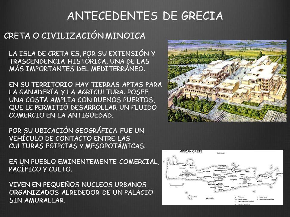 ANTECEDENTES DE GRECIA MICENAS O CIVILIZACIÓN MICENICA LOS AQUEOS CONSTITUYEN UN PUEBLO GUERRERO.