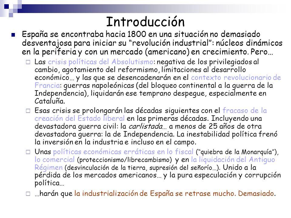 Introducción España se encontraba hacia 1800 en una situación no demasiado desventajosa para iniciar su revolución industrial: núcleos dinámicos en la