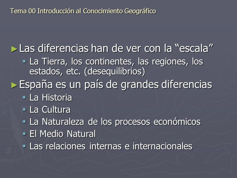 Las diferencias han de ver con la escala Las diferencias han de ver con la escala La Tierra, los continentes, las regiones, los estados, etc. (desequi