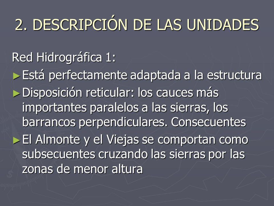 2. DESCRIPCIÓN DE LAS UNIDADES Red Hidrográfica 1: Está perfectamente adaptada a la estructura Está perfectamente adaptada a la estructura Disposición