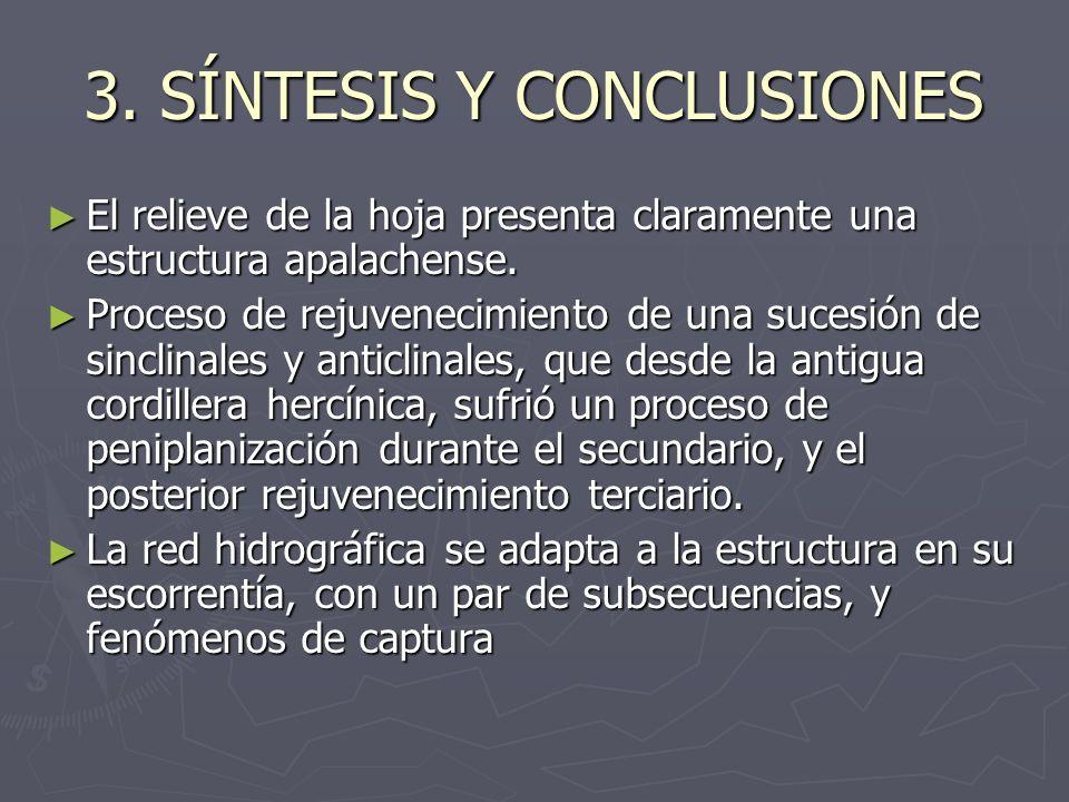 3. SÍNTESIS Y CONCLUSIONES El relieve de la hoja presenta claramente una estructura apalachense. El relieve de la hoja presenta claramente una estruct