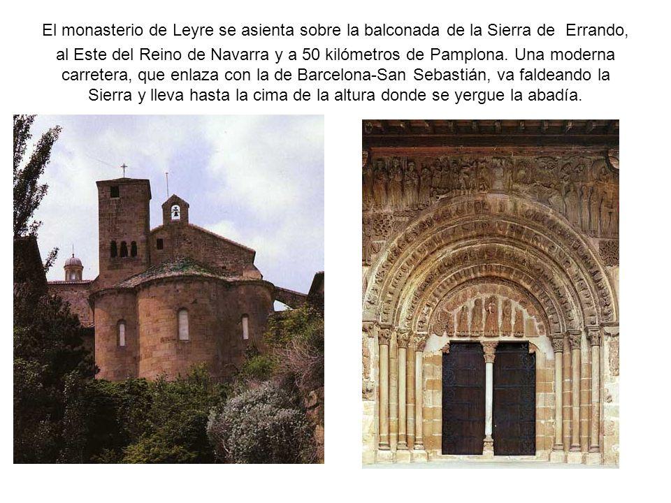 El monasterio de Leyre se asienta sobre la balconada de la Sierra de Errando, al Este del Reino de Navarra y a 50 kilómetros de Pamplona. Una moderna
