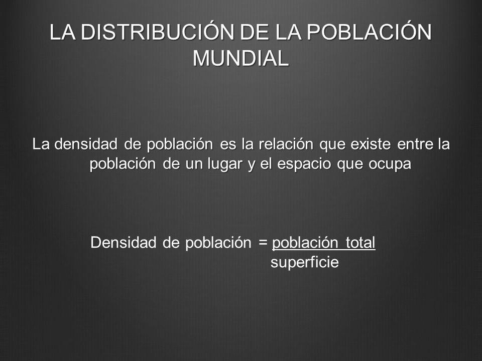 LA DISTRIBUCIÓN DE LA POBLACIÓN MUNDIAL La densidad de población es la relación que existe entre la población de un lugar y el espacio que ocupa Densi
