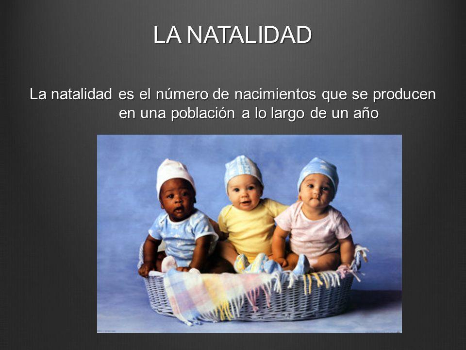 LA NATALIDAD La natalidad es el número de nacimientos que se producen en una población a lo largo de un año