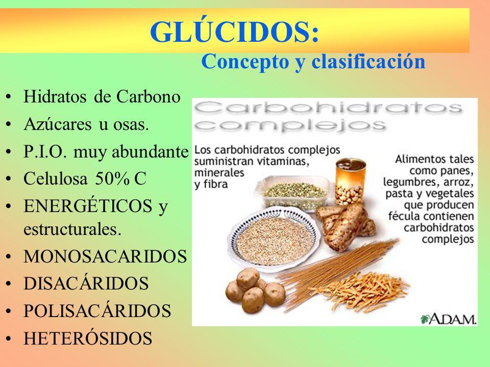 GLÚCIDOS: Hidratos de Carbono Azúcares u osas. P.I.O. muy abundante Celulosa 50% C ENERGÉTICOS y estructurales. MONOSACARIDOS DISACÁRIDOS POLISACÁRIDO