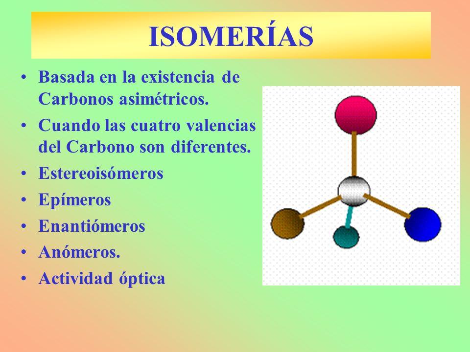 ISOMERÍAS Basada en la existencia de Carbonos asimétricos. Cuando las cuatro valencias del Carbono son diferentes. Estereoisómeros Epímeros Enantiómer