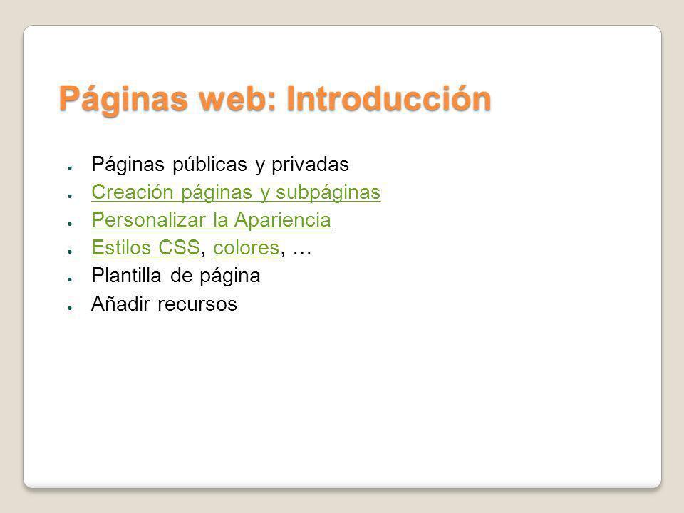 Páginas web: Introducción Páginas públicas y privadas Creación páginas y subpáginas Personalizar la Apariencia Estilos CSS, colores, … Estilos CSScolo