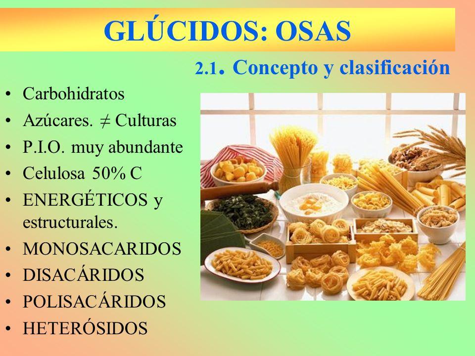 GLÚCIDOS: OSAS Carbohidratos Azúcares. Culturas P.I.O. muy abundante Celulosa 50% C ENERGÉTICOS y estructurales. MONOSACARIDOS DISACÁRIDOS POLISACÁRID