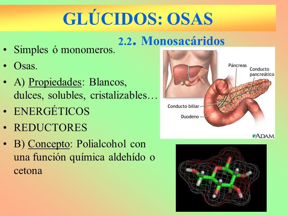 GLÚCIDOS: OSAS Simples ó monomeros. Osas. A) Propiedades: Blancos, dulces, solubles, cristalizables… ENERGÉTICOS REDUCTORES B) Concepto: Polialcohol c