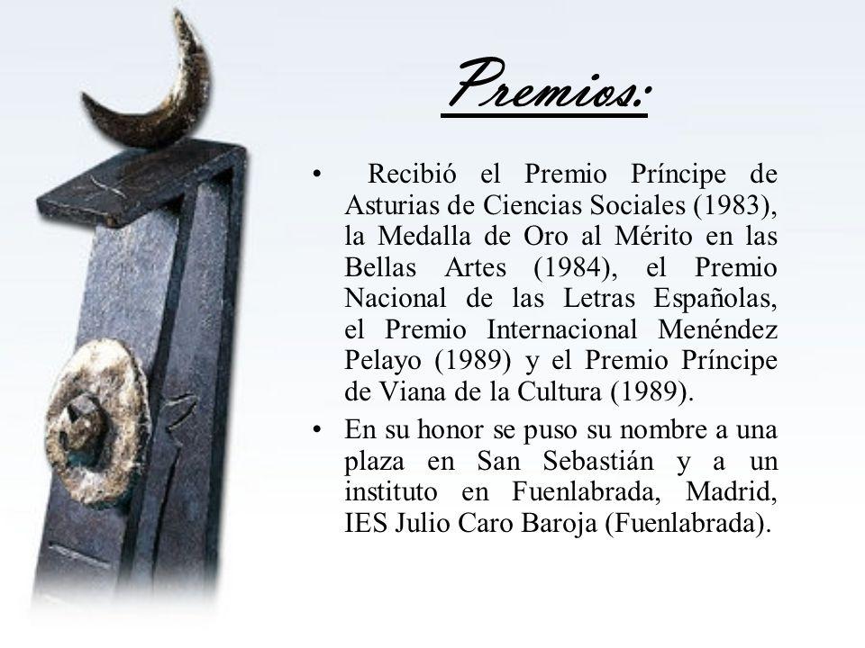 Premios: Recibió el Premio Príncipe de Asturias de Ciencias Sociales (1983), la Medalla de Oro al Mérito en las Bellas Artes (1984), el Premio Naciona