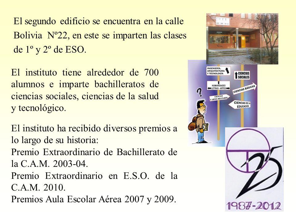 El segundo edificio se encuentra en la calle Bolivia Nº22, en este se imparten las clases de 1º y 2º de ESO. El instituto tiene alrededor de 700 alumn