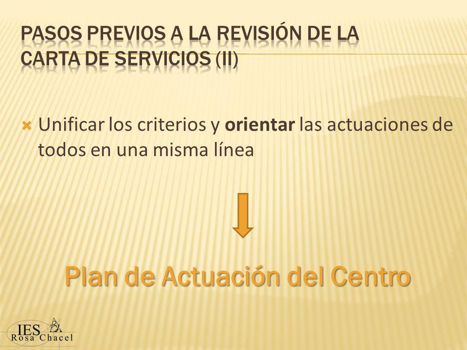 Unificar los criterios y orientar las actuaciones de todos en una misma línea Plan de Actuación del Centro