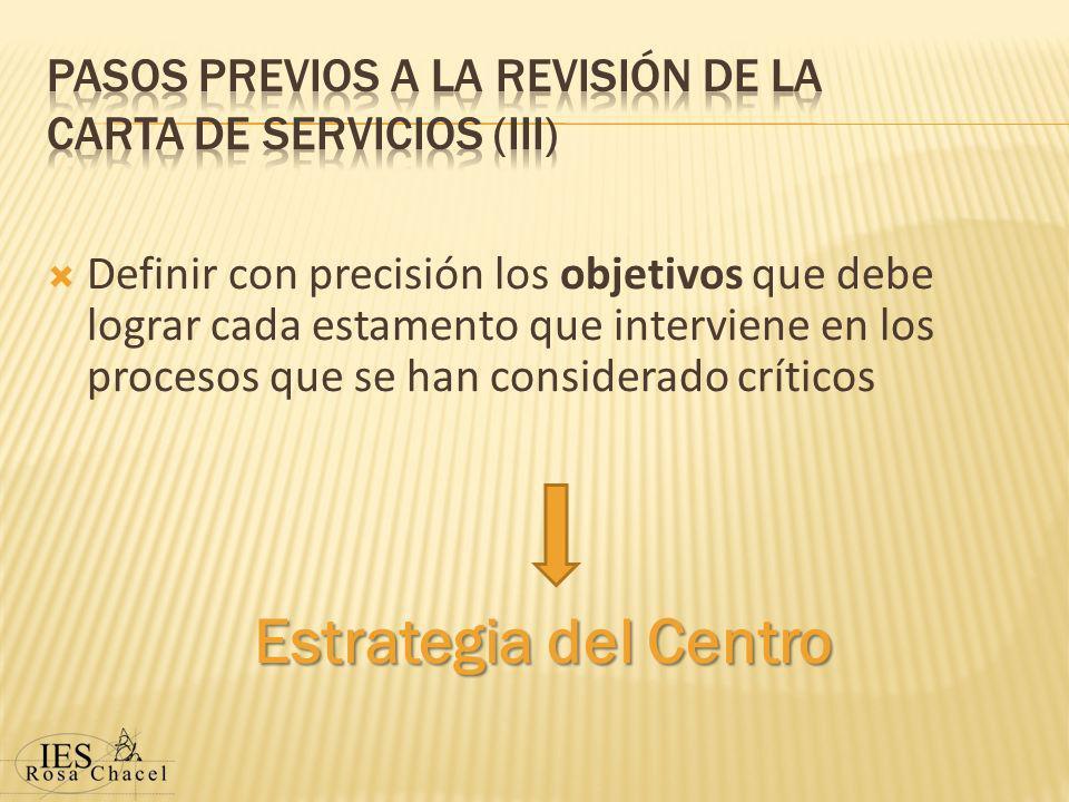Definir con precisión los objetivos que debe lograr cada estamento que interviene en los procesos que se han considerado críticos Estrategia del Centro