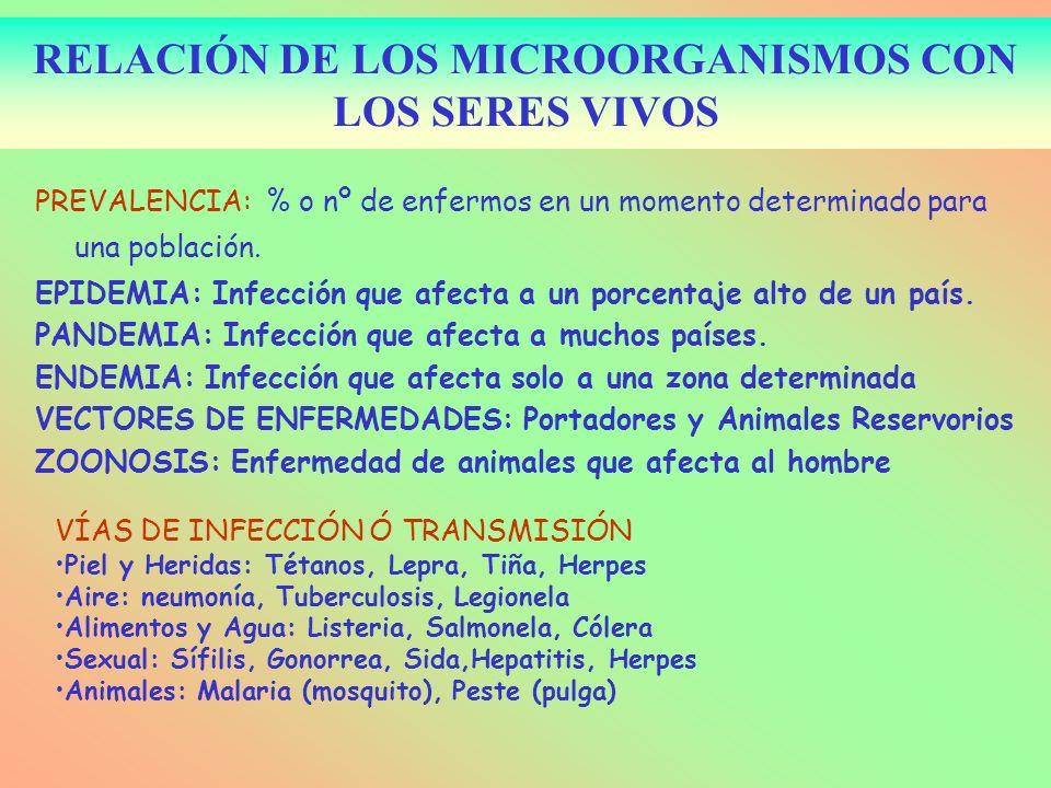 PREVALENCIA: % o nº de enfermos en un momento determinado para una población. EPIDEMIA: Infección que afecta a un porcentaje alto de un país. PANDEMIA