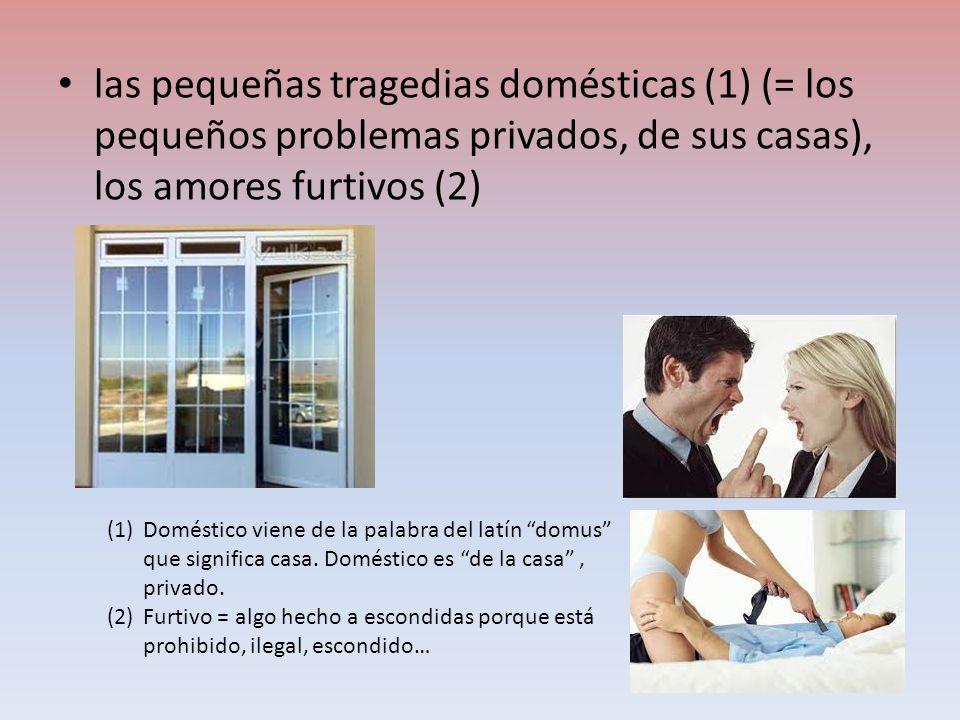 las pequeñas tragedias domésticas (1) (= los pequeños problemas privados, de sus casas), los amores furtivos (2) (1)Doméstico viene de la palabra del