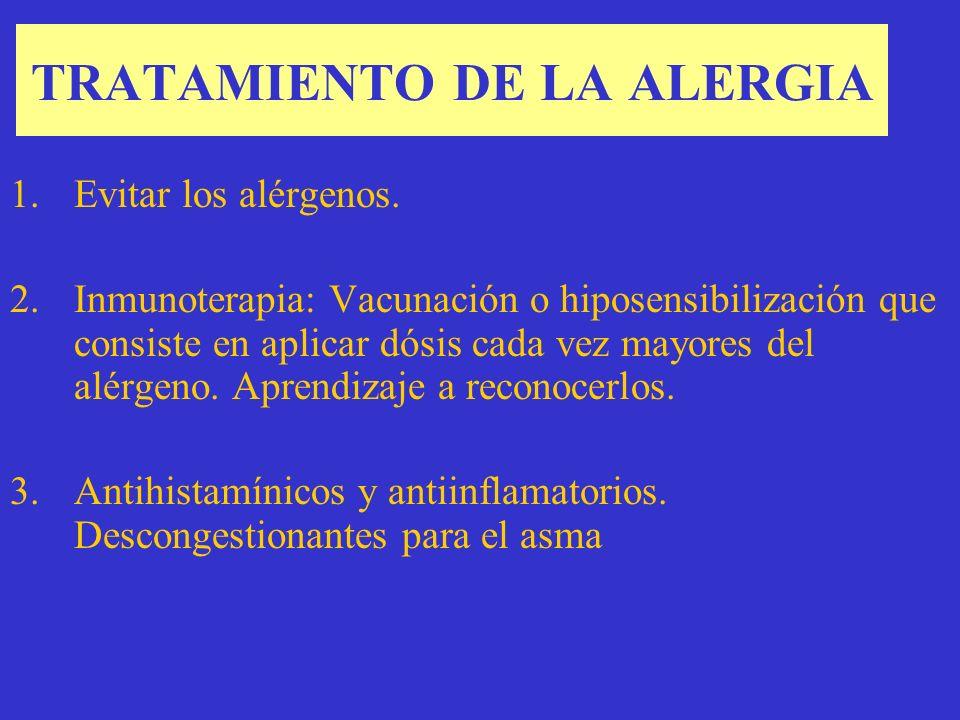 TRATAMIENTO DE LA ALERGIA 1.Evitar los alérgenos.
