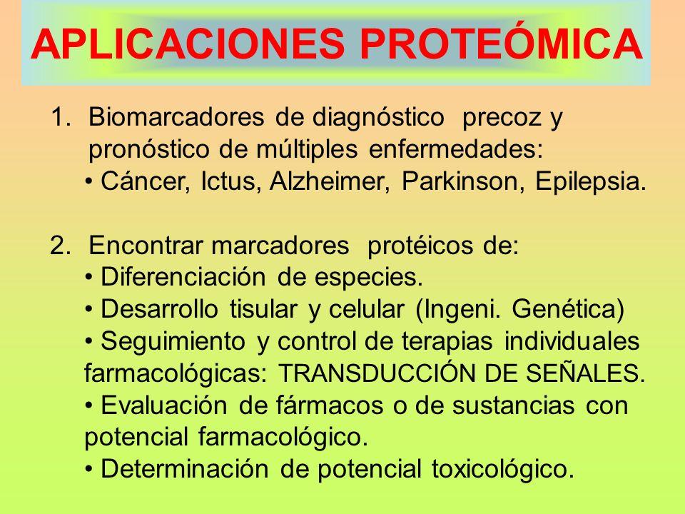 APLICACIONES PROTEÓMICA 1.Biomarcadores de diagnóstico precoz y pronóstico de múltiples enfermedades: Cáncer, Ictus, Alzheimer, Parkinson, Epilepsia.
