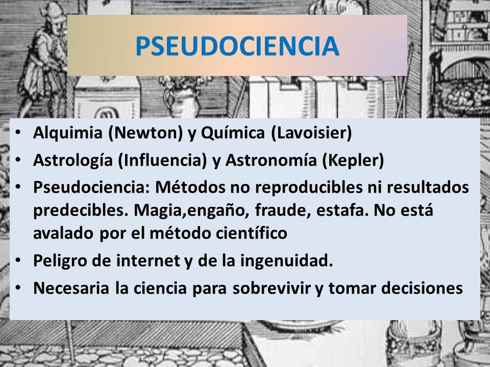 Alquimia (Newton) y Química (Lavoisier) Astrología (Influencia) y Astronomía (Kepler) Pseudociencia: Métodos no reproducibles ni resultados predecible