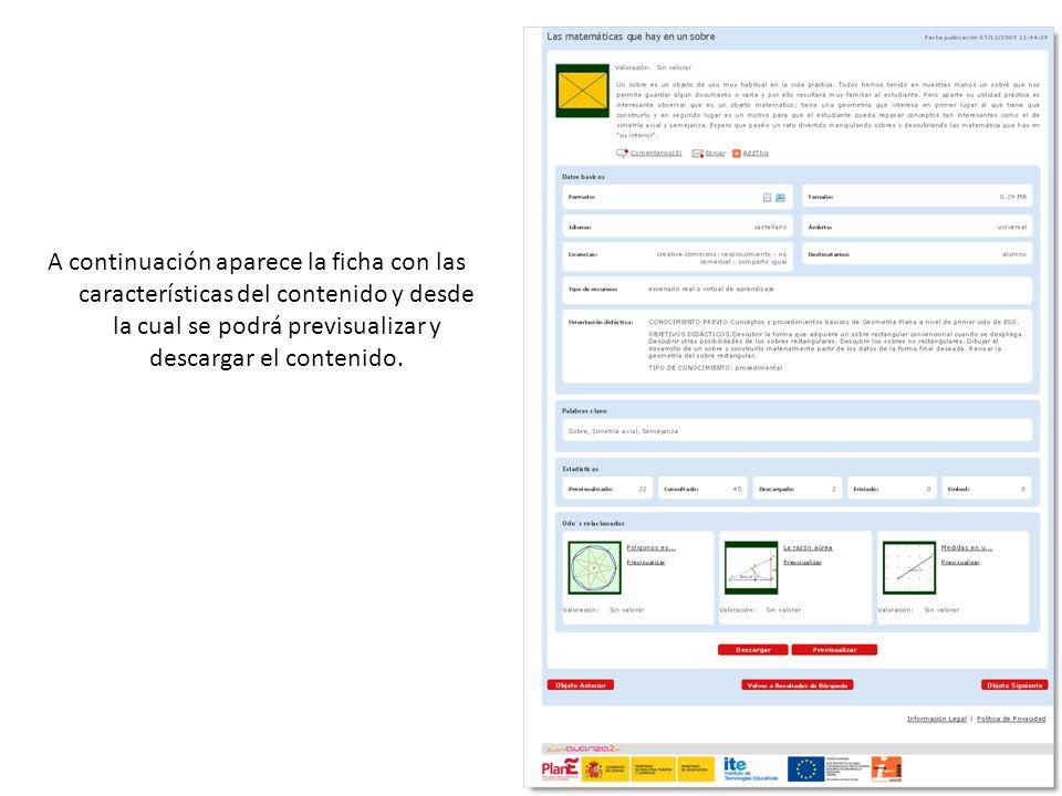 A continuación aparece la ficha con las características del contenido y desde la cual se podrá previsualizar y descargar el contenido.
