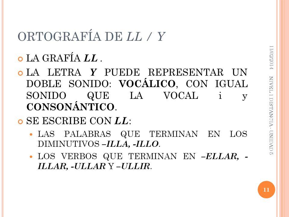 ORTOGRAFÍA DE LL / Y LA GRAFÍA LL. LA LETRA Y PUEDE REPRESENTAR UN DOBLE SONIDO: VOCÁLICO, CON IGUAL SONIDO QUE LA VOCAL i y CONSONÁNTICO. SE ESCRIBE