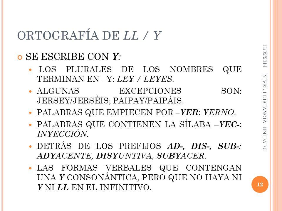 ORTOGRAFÍA DE LL / Y SE ESCRIBE CON Y : LOS PLURALES DE LOS NOMBRES QUE TERMINAN EN –Y: LE Y / LE Y ES. ALGUNAS EXCEPCIONES SON: JERSEY/JERSÉIS; PAIPA