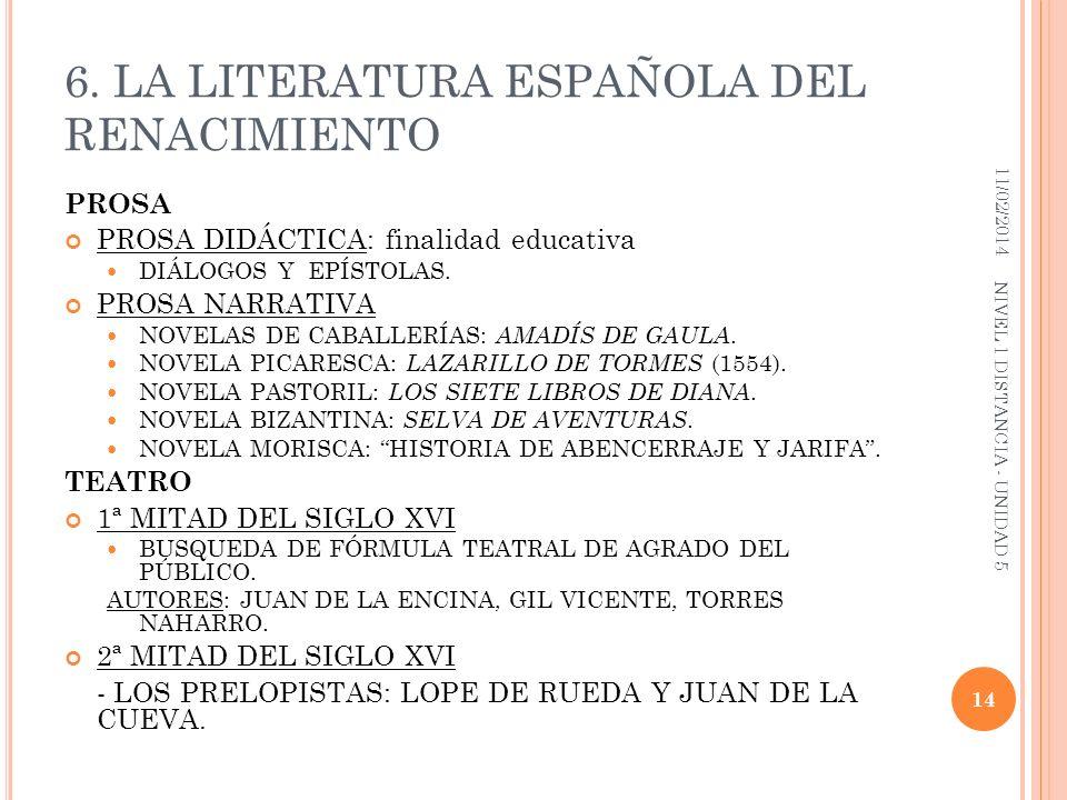 6. LA LITERATURA ESPAÑOLA DEL RENACIMIENTO PROSA PROSA DIDÁCTICA: finalidad educativa DIÁLOGOS Y EPÍSTOLAS. PROSA NARRATIVA NOVELAS DE CABALLERÍAS: AM