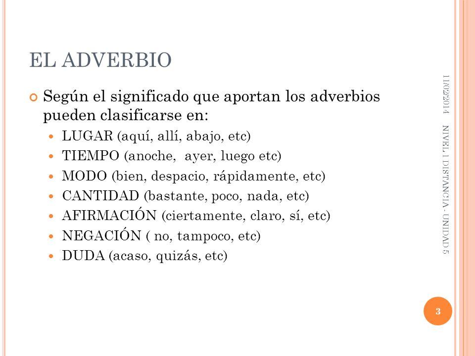 EL ADVERBIO Según el significado que aportan los adverbios pueden clasificarse en: LUGAR (aquí, allí, abajo, etc) TIEMPO (anoche, ayer, luego etc) MOD