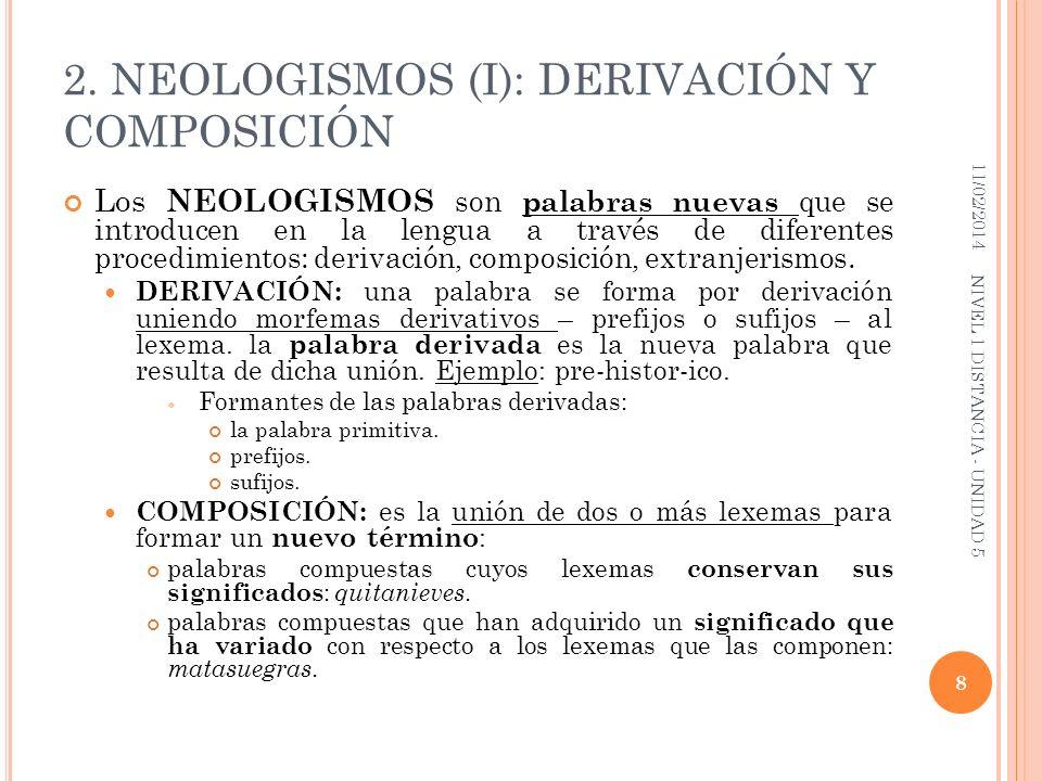 2. NEOLOGISMOS (I): DERIVACIÓN Y COMPOSICIÓN Los NEOLOGISMOS son palabras nuevas que se introducen en la lengua a través de diferentes procedimientos: