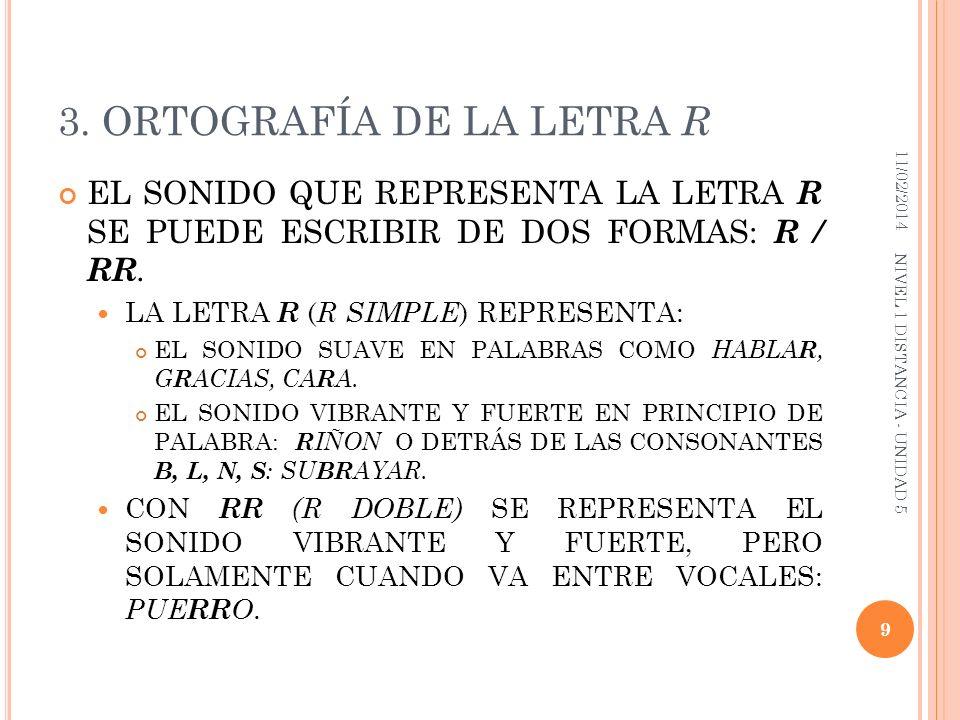 3. ORTOGRAFÍA DE LA LETRA R EL SONIDO QUE REPRESENTA LA LETRA R SE PUEDE ESCRIBIR DE DOS FORMAS: R / RR. LA LETRA R ( R SIMPLE ) REPRESENTA: EL SONIDO