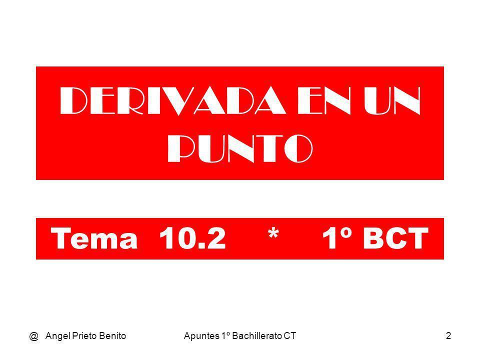@ Angel Prieto BenitoApuntes 1º Bachillerato CT3 DERIVADA EN UN PUNTO DE UNA FUNCIÓN Sea la función y = f(x) que se muestra en el gráfico mediante una curva.