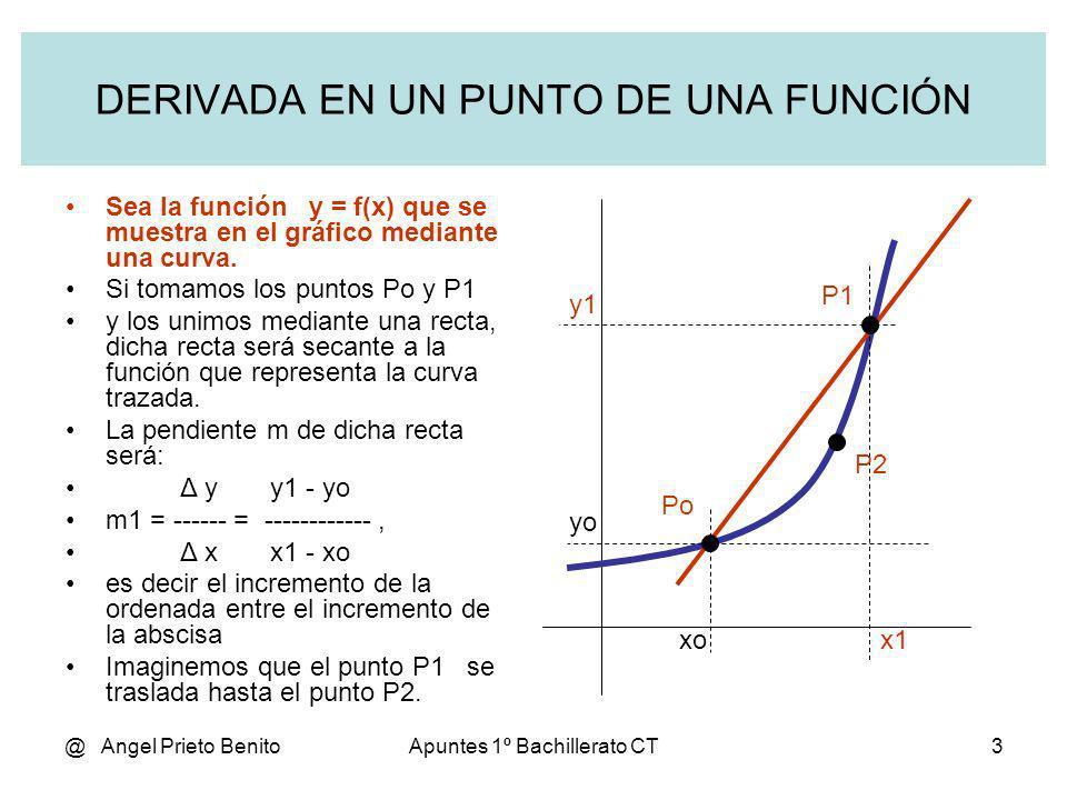 @ Angel Prieto BenitoApuntes 1º Bachillerato CT3 DERIVADA EN UN PUNTO DE UNA FUNCIÓN Sea la función y = f(x) que se muestra en el gráfico mediante una
