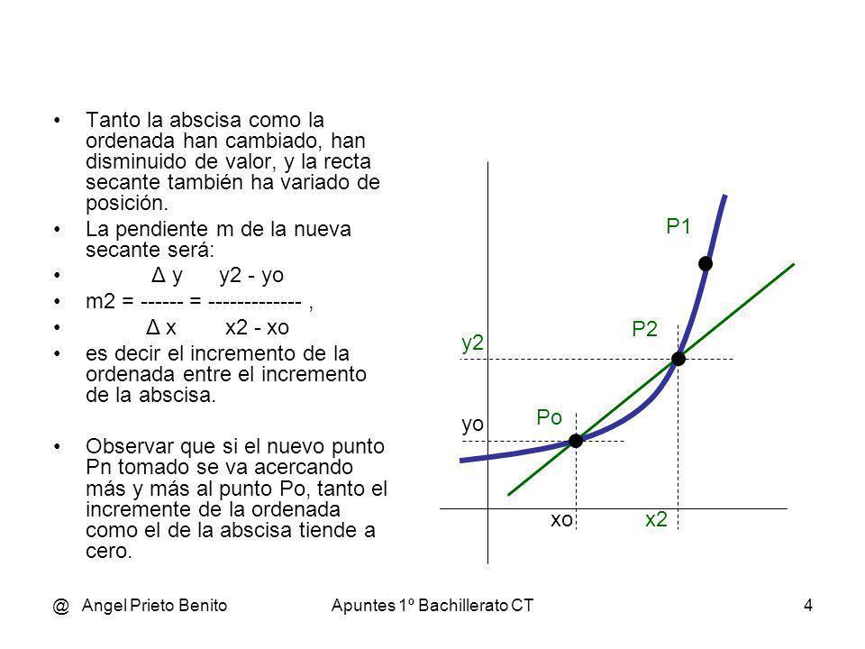 @ Angel Prieto BenitoApuntes 1º Bachillerato CT5 y1 y2 yo xox2x1 La recta secante terminará convertida en una RECTA TANGENTE, pues será tangente a la función en el punto estudiado Po = (xo, yo) La pendiente de esa recta tangente será: yn - yo 0 m = lím ------------- = [----] x xo xn - xo 0 f(xo+h) – f(xo) 0 m = lím ------------------- = ---- h 0 h 0 A ese límite concreto, si existe, es lo que llamamos DERIVADA DE UNA FUNCIÓN EN UN PUNTO ( en Po ) Se denota así: f (xo) Po