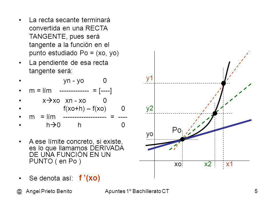 @ Angel Prieto BenitoApuntes 1º Bachillerato CT6 EJEMPLO 1 Sea la función y = 3 x + 4 Hallar f ´(1) f(1+h) – f(1) 3(1+h) + 4 – ( 3.1+ 4) f (1) = lím ----------------- = lím ------------------------------ = h 0 h h 0 h 3 + 3.h + 4 – 3 – 4 3,h = lím ----------------------------- = lim ------- = 3 h 0 h h 0 h f (1) = 3 Ejemplos