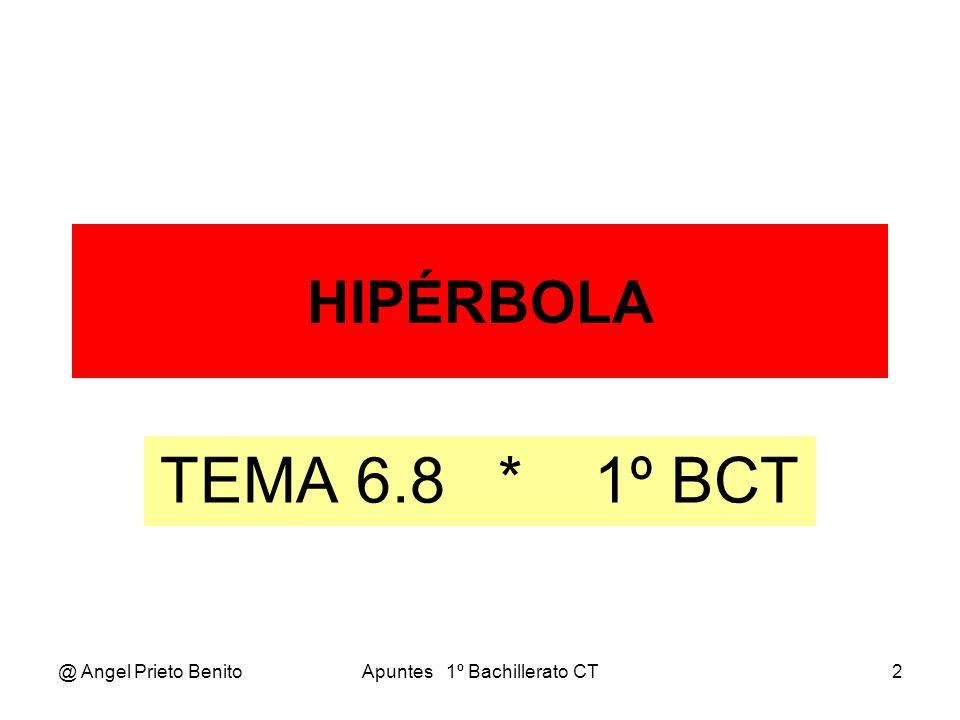 @ Angel Prieto BenitoApuntes 1º Bachillerato CT3 LA HIPÉRBOLA LA HIPÉRBOLA La hipérbola es el lugar geométrico de los puntos del plano cuya diferencia de distancias a dos puntos fijos llamados FOCOS es una constante.