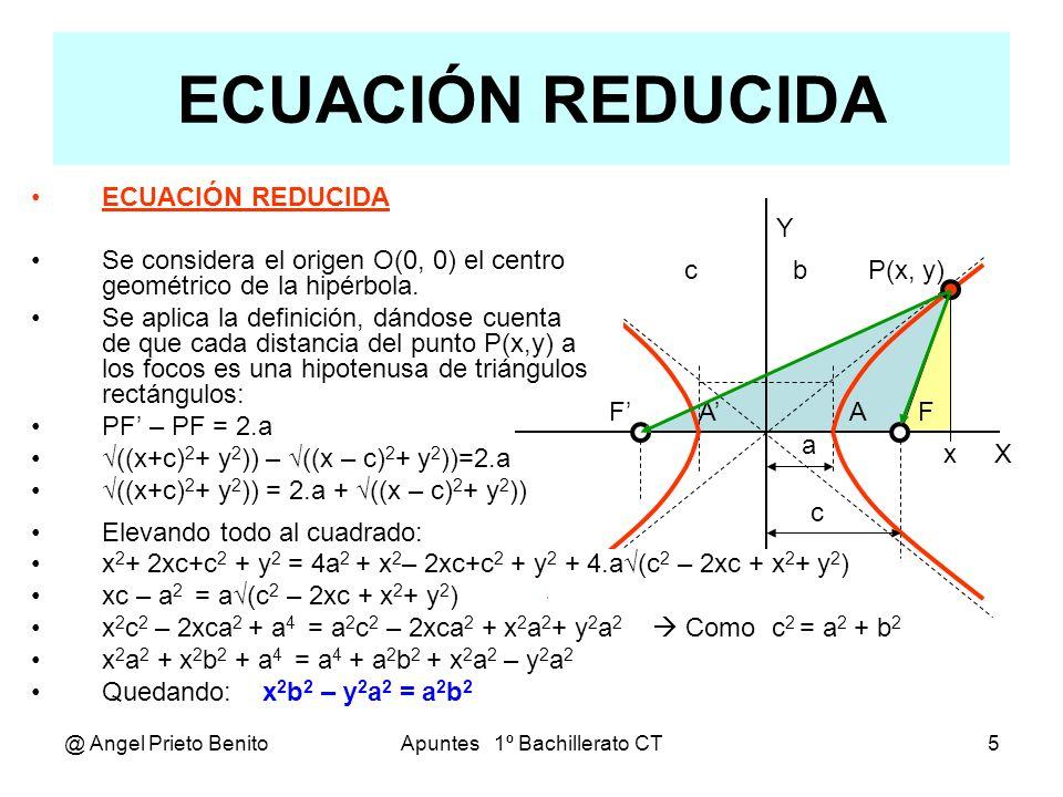 @ Angel Prieto BenitoApuntes 1º Bachillerato CT6 Ejercicios Hallar la ecuación de la hipérbola cuyos datos conocidos son: 1º.-Vértices: A(3,0), A(-3,0), B(0, 4) y B(0, - 4) El centro de la elipse es C((3+(-3))/2, (4+(-4))/2),, C(0,0) Eje real: 2.a = 6,, a =3,, Eje imaginario: 2b = 8,, b = 4 Ecuación: b 2 x 2 – a 2 y 2 = a 2 b 2 16x 2 – 9y 2 = 144 2º.-Vértices: A(5,0), A (-5,0),, Excentricidad: e = 1,2 El centro de la elipse es C((5+(-5))/2, 0),, C(0,0) Semieje mayor: a = 5,, e = c / a c =e.a = 1,2.5 = 6 Semieje imaginario: b = (c 2 – a 2 ) = (6 2 – 5 2 ) = 11 Ecuación: b 2 x 2 – a 2 y 2 = a 2 b 2 11x 2 – 25y 2 = 275 3º.-Centro: C(0,0),, Focos: F(10, 0), F (-10, 0) y P(- 6, 0) Ecuación: b 2 x 2 – a 2 y 2 = a 2 b 2 36.b 2 – 0.a 2 = a 2.b 2 Relación: c 2 = a 2 + b 2 100 = a 2 + b 2 Resolviendo el sistema: a 2 = 36,, a = 6 y b 2 = 64,, b = 8