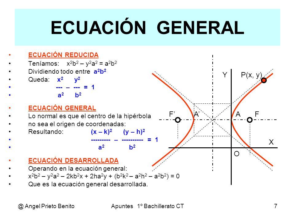 @ Angel Prieto BenitoApuntes 1º Bachillerato CT8 Ejercicios Hallar la ecuación de la hipérbola cuyos datos conocidos son: 4º.-Vértices: A(5,3), A(-7,3), e = 1,5 El centro de la hipérbola es C((5+(-7))/2, 3),, C(-1,3) Eje real: 2.a = 12,, a =6,, e = c/a c = e.a = 1,5.6 = 9 Eje imaginario: b = (c 2 – a 2 ) = (9 2 – 6 2 ) = 45 = 3 5 Ecuación: b 2 (x + 1) 2 – a 2 (y – 3) 2 = a 2 b 2 45x 2 – 36y 2 + 90x + 216y – 1899 = 0 5º.-Vértices: B(2, -2), B (2, - 6),, Distancia focal: 2c=10 El centro de la hipérbola es C(2, (-6 – (-2))/2),, C(2, – 4) Semieje imaginario: b = (-2 – (– 6))/2 = 4/2 = 2 Semieje real: a = (c 2 – b 2 ) = (5 2 – 2 2 ) = 21 Ecuación: b 2 (x – k) 2 – a 2 (y – h) 2 = a 2 b 2 4 (x – 2) 2 – 21 (y + 4) 2 = 4.21 4x 2 – 21y 2 – 16x – 168y – 404 = 0