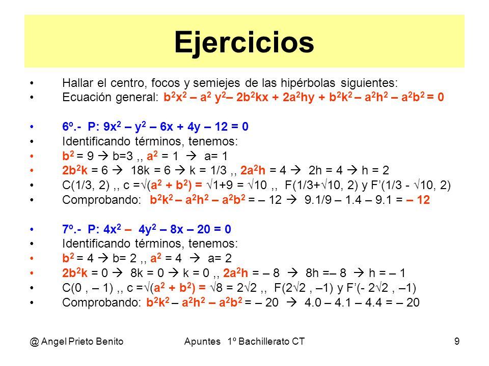 @ Angel Prieto BenitoApuntes 1º Bachillerato CT9 Ejercicios Hallar el centro, focos y semiejes de las hipérbolas siguientes: Ecuación general: b 2 x 2