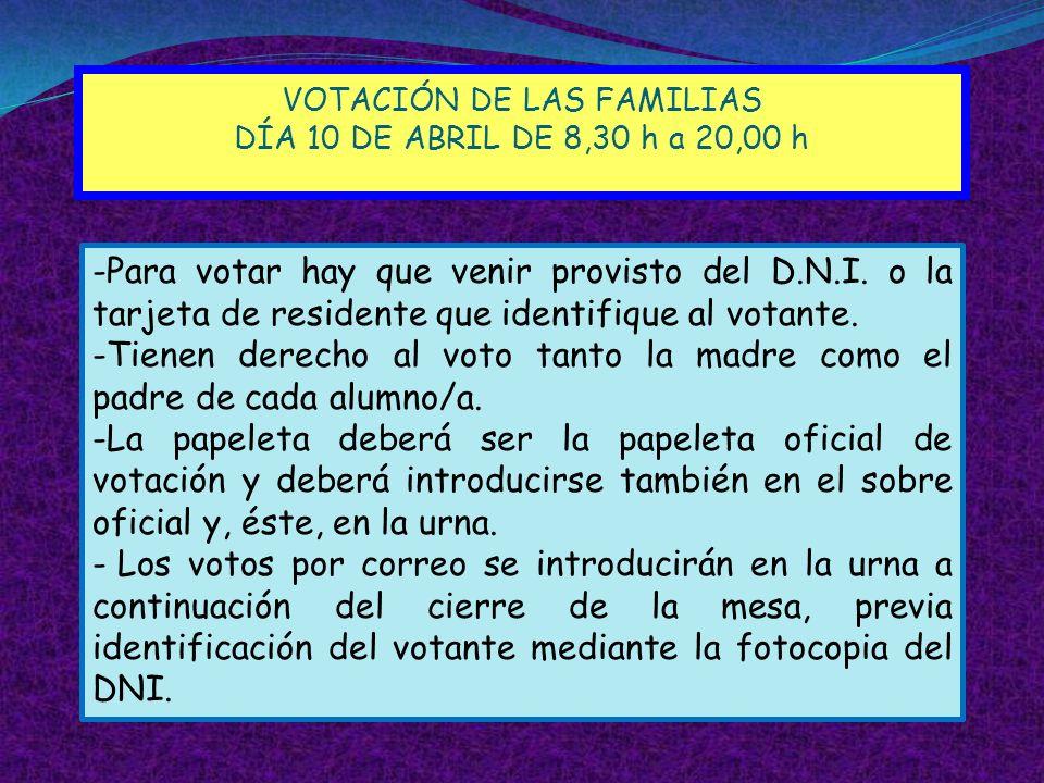 VOTACIÓN DE LAS FAMILIAS DÍA 10 DE ABRIL DE 8,30 h a 20,00 h -Para votar hay que venir provisto del D.N.I. o la tarjeta de residente que identifique a