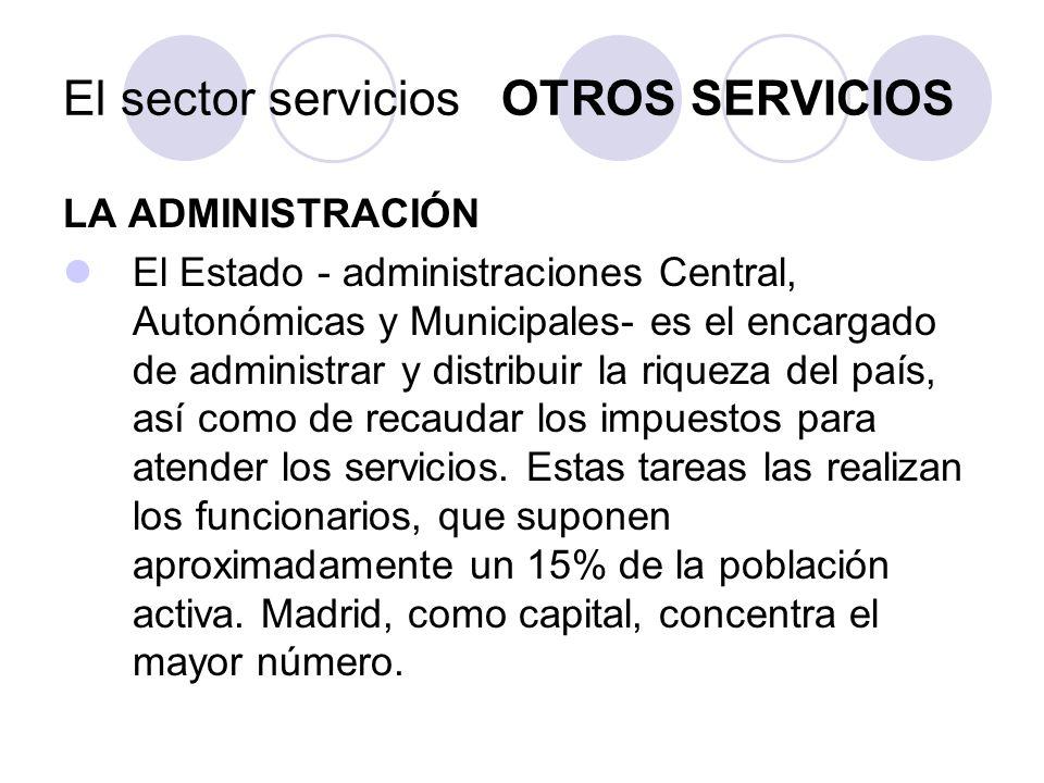 LA ADMINISTRACIÓN El Estado - administraciones Central, Autonómicas y Municipales- es el encargado de administrar y distribuir la riqueza del país, así como de recaudar los impuestos para atender los servicios.