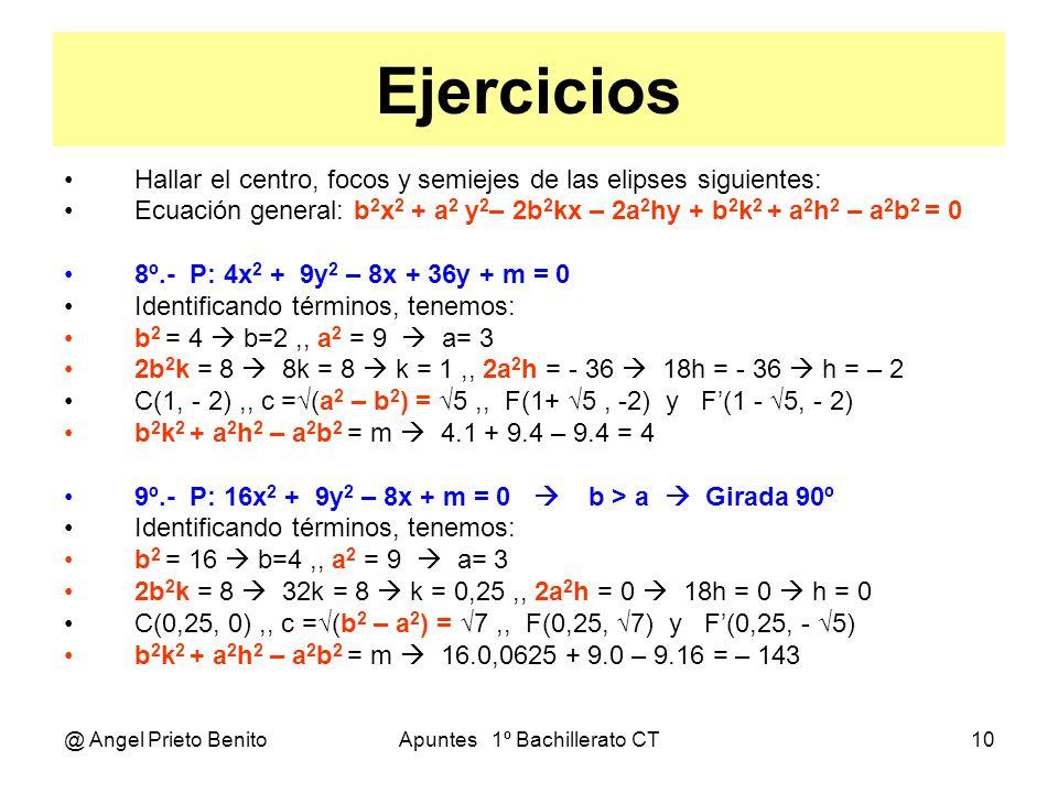 @ Angel Prieto BenitoApuntes 1º Bachillerato CT10 Ejercicios Hallar el centro, focos y semiejes de las elipses siguientes: Ecuación general: b 2 x 2 +