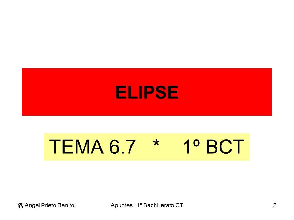 @ Angel Prieto BenitoApuntes 1º Bachillerato CT3 LA ELIPSE LA ELIPSE La elipse es el lugar geométrico de los puntos del plano cuya suma de distancias a dos puntos fijos llamados FOCOS es una constante.