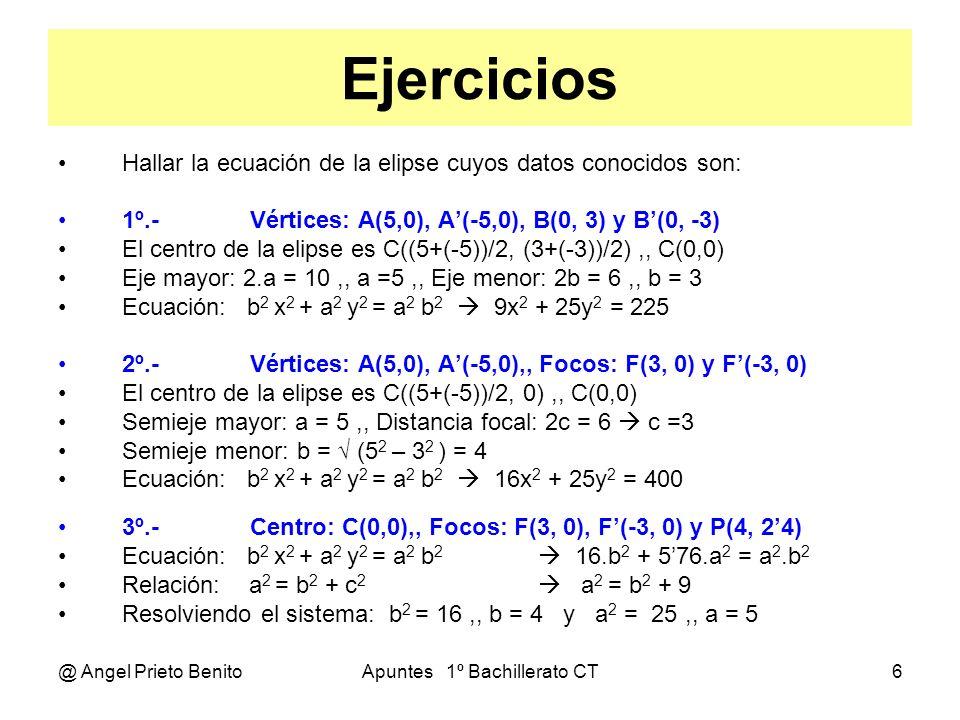 @ Angel Prieto BenitoApuntes 1º Bachillerato CT7 ECUACIÓN GENERAL X Y F F P(x, y) ECUACIÓN REDUCIDA Teníamos: x 2 b 2 + y 2 a 2 = a 2 b 2 Dividiendo todo entre a 2 b 2 Queda: x 2 y 2 --- + --- = 1 a 2 b 2 ECUACIÓN GENERAL Lo normal es que el centro de la elipse no sea el origen de coordenadas: Resultando:(x – k) 2 (y – h) 2 --------- + ---------- = 1 a 2 b 2 ECUACIÓN DESARROLLADA Operando en la ecuación general: x 2 b 2 + y 2 a 2 – 2kb 2 x – 2ha 2 y + (b 2 k 2 + a 2 h 2 – a 2 b 2 ) = 0 Que es la ecuación general desarrollada.
