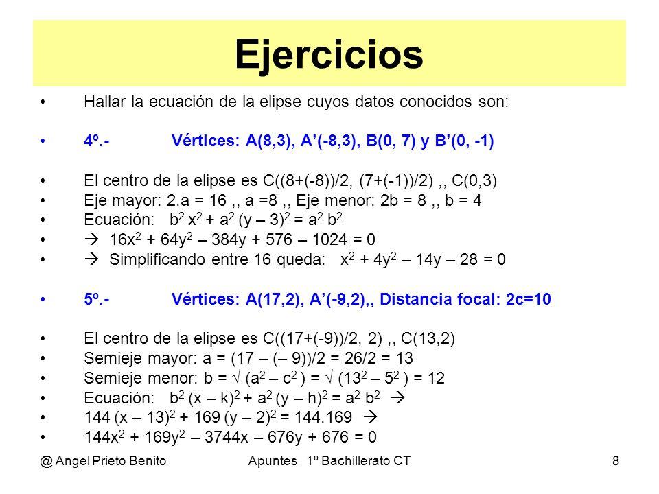 @ Angel Prieto BenitoApuntes 1º Bachillerato CT9 Ejercicios Hallar el centro, focos y semiejes de las elipses siguientes: Ecuación general: b 2 x 2 + a 2 y 2 – 2b 2 kx – 2a 2 hy + b 2 k 2 + a 2 h 2 – a 2 b 2 = 0 6º.- P: x 2 + 9y 2 – 8x – 36y + 28 = 0 Identificando términos, tenemos: b 2 = 1 b=1,, a 2 = 9 a= 3 2b 2 k = 8 8k = 8 k = 1,, 2a 2 h = 36 18h = 36 h = 2 C(1, 2),, c = (a 2 – b 2 ) = 8 = 2 2,, F(1+ 2 2, 2) y F (1 - 2 2, 2) Comprobando: b 2 k 2 + a 2 h 2 – a 2 b 2 = 28 1.1 + 9.4 – 9.1 = 28 7º.- P: 3x 2 + 5y 2 – y – 14 95 = 0 Identificando términos, tenemos: b 2 = 3 b= 3,, a 2 = 5 a= 5 2b 2 k = 0 6k = 0 k = 0,, 2a 2 h = 1 10h = 1 h = 0,1 C(0, 0 1),, c = (a 2 – b 2 ) = 2,, F( 2, 0 1) y F (- 2, 0 1) Comprobando: b 2 k 2 + a 2 h 2 – a 2 b 2 = m 3.0 + 5.0 01 – 5.3 = – 14 95