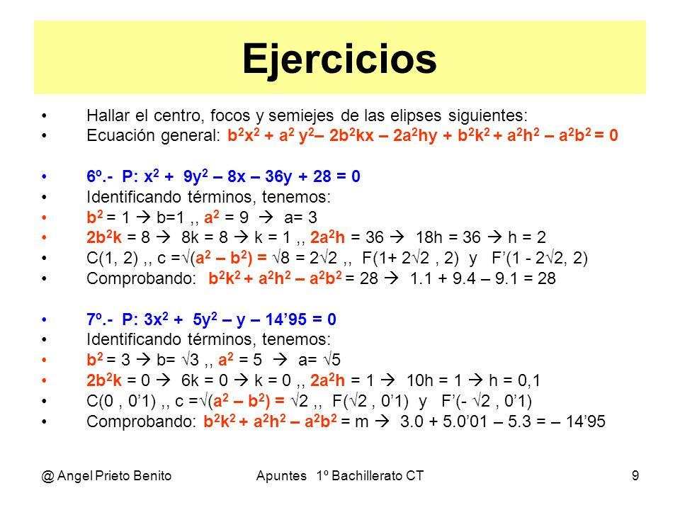 @ Angel Prieto BenitoApuntes 1º Bachillerato CT10 Ejercicios Hallar el centro, focos y semiejes de las elipses siguientes: Ecuación general: b 2 x 2 + a 2 y 2 – 2b 2 kx – 2a 2 hy + b 2 k 2 + a 2 h 2 – a 2 b 2 = 0 8º.- P: 4x 2 + 9y 2 – 8x + 36y + m = 0 Identificando términos, tenemos: b 2 = 4 b=2,, a 2 = 9 a= 3 2b 2 k = 8 8k = 8 k = 1,, 2a 2 h = - 36 18h = - 36 h = – 2 C(1, - 2),, c = (a 2 – b 2 ) = 5,, F(1+ 5, -2) y F (1 - 5, - 2) b 2 k 2 + a 2 h 2 – a 2 b 2 = m 4.1 + 9.4 – 9.4 = 4 9º.- P: 16x 2 + 9y 2 – 8x + m = 0 b > a Girada 90º Identificando términos, tenemos: b 2 = 16 b=4,, a 2 = 9 a= 3 2b 2 k = 8 32k = 8 k = 0,25,, 2a 2 h = 0 18h = 0 h = 0 C(0,25, 0),, c = (b 2 – a 2 ) = 7,, F(0,25, 7) y F (0,25, - 5) b 2 k 2 + a 2 h 2 – a 2 b 2 = m 16.0,0625 + 9.0 – 9.16 = – 143