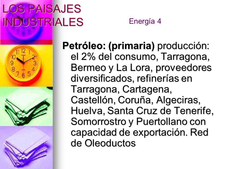 Petróleo: (primaria) producción: el 2% del consumo, Tarragona, Bermeo y La Lora, proveedores diversificados, refinerías en Tarragona, Cartagena, Caste